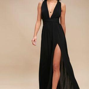 Passionate Embrace Black Halter Maxi Dress